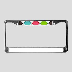 Colored Diamonds License Plate Frame