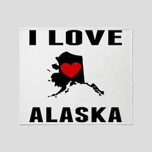 I Love Alaska Throw Blanket