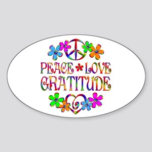 Peace Love Gratitude Sticker (Oval)