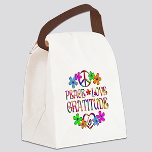 Peace Love Gratitude Canvas Lunch Bag