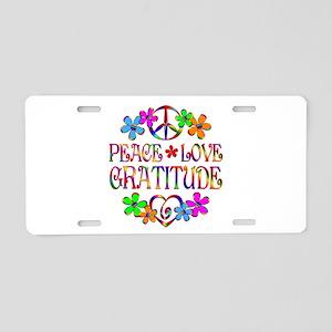 Peace Love Gratitude Aluminum License Plate