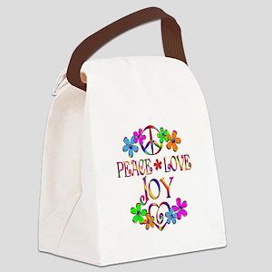 Peace Love Joy Canvas Lunch Bag
