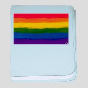 GAY PRIDE RAINBOW FLAG PAINT ART SIGN baby blanket