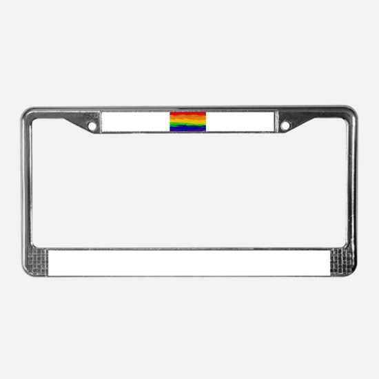 GAY PRIDE RAINBOW ART SIGNED License Plate Frame