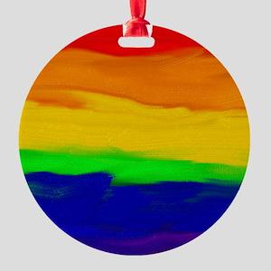 GAY PRIDE RAINBOW ART SIGNED Round Ornament