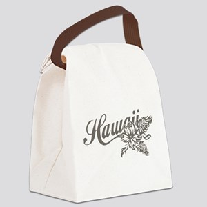 Hawaii Script with Tropical Flower Canvas Lunch Ba