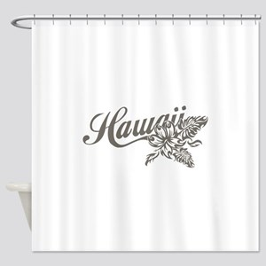 Hawaii Script with Tropical Flower Shower Curtain