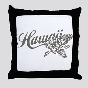 Hawaii Script with Tropical Flower Throw Pillow