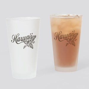 Hawaii Script with Tropical Flower Drinking Glass