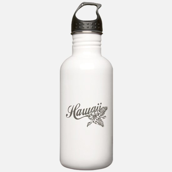 Hawaii Script with Tropical Flower Water Bottle