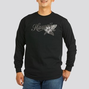 Hawaii Script with Tropical Flower Long Sleeve T-S
