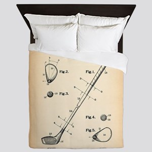 Golf Club patent Queen Duvet