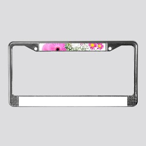 hot pink flowers License Plate Frame