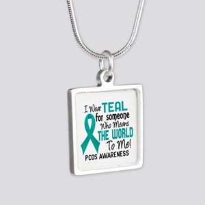 PCOS MeansWorldToMe2 Silver Square Necklace