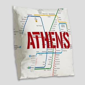 Athens Metro Burlap Throw Pillow