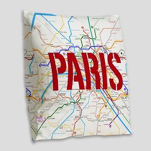 Paris Metro Burlap Throw Pillow