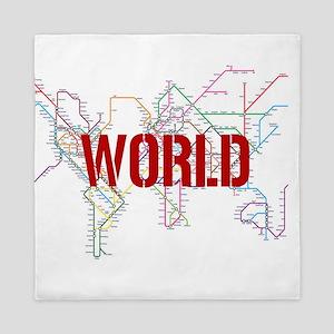 World Metro Map Queen Duvet