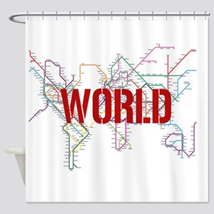 World Metro Map Shower Curtain