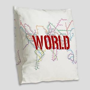 World Metro Map Burlap Throw Pillow