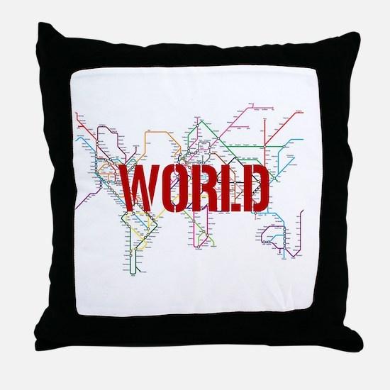 World Metro Map Throw Pillow