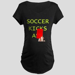 Soccer kicks a red card Maternity T-Shirt