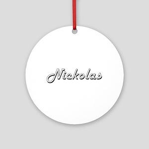 Nickolas Classic Style Name Ornament (Round)