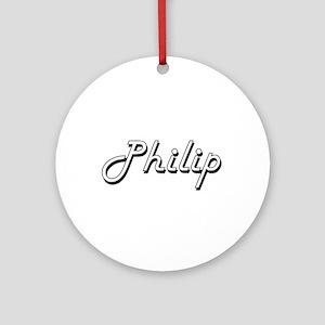 Philip Classic Style Name Ornament (Round)