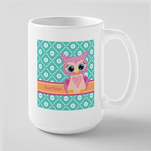 Cute Pink Little Owl Pe Stainless Steel Travel Mug