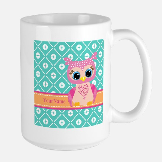 Cute Pink Little Owl Pe Stainless Steel Travel Mug