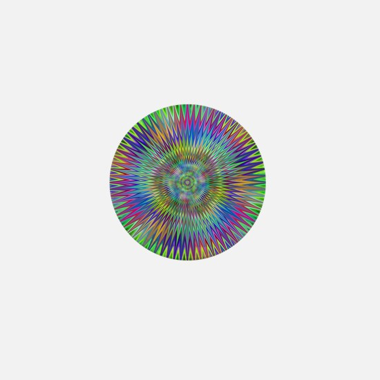 Hypnotic Star Burst Fractal Mini Button