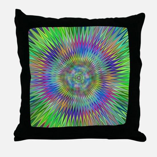 Hypnotic Star Burst Fractal Throw Pillow