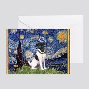 Starry Night & Smooth Fox Terrier Greeting Card