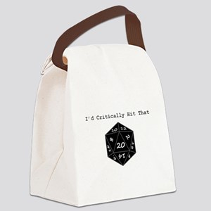 Id Critically Hit That - Black Canvas Lunch Bag