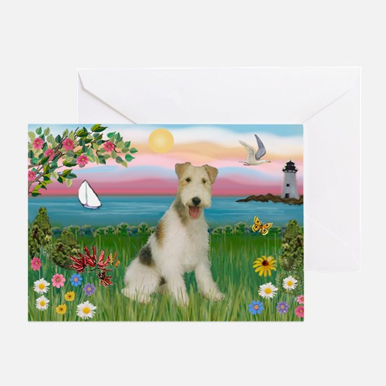 Lighthouse & Wire Fox Terrier Greeting Card