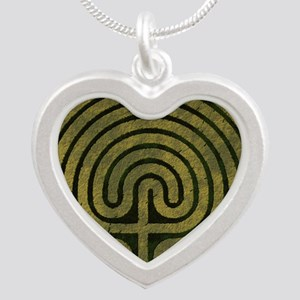 Labyrinth stone grass Silver Heart Necklace
