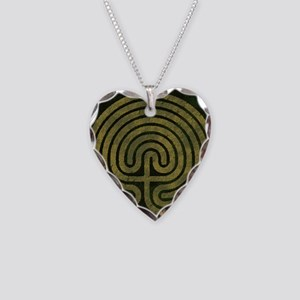 Labyrinth stone grass Necklace Heart Charm