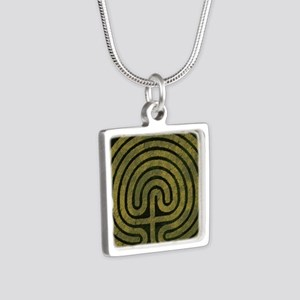 Labyrinth stone grass Silver Square Necklace