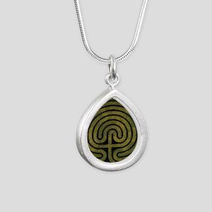 Labyrinth stone grass Silver Teardrop Necklace