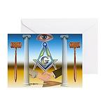 Masonic Scene - Brothers United Greeting Cards (Pk