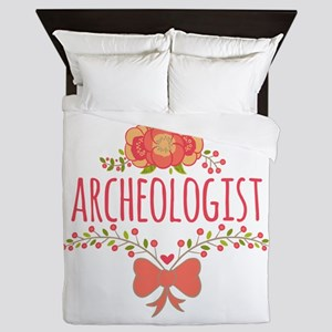 Cute Floral Gifts For Archeologist Queen Duvet