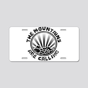 The Mountains are Calling. Aluminum License Plate