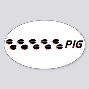 Pig Tracks Oval Sticker