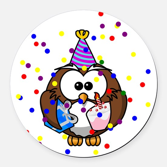 Party Owl Confetti Round Car Magnet