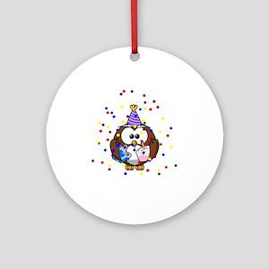 Party Owl Confetti Ornament (Round)