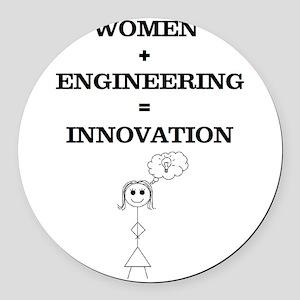 Women + Engineering Round Car Magnet
