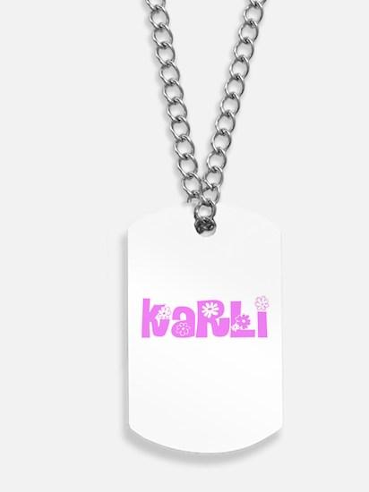 Karli Flower Design Dog Tags