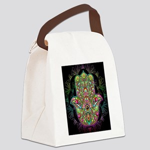Hamsa Hand Amulet Psychedelic Canvas Lunch Bag