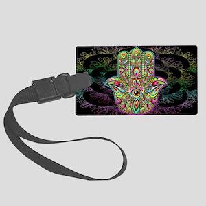Hamsa Hand Amulet Psychedelic Large Luggage Tag
