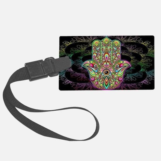Hamsa Hand Amulet Psychedelic Luggage Tag