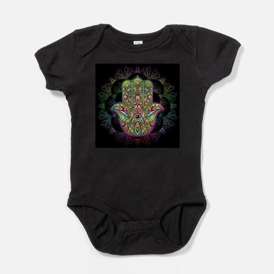 Hamsa Hand Amulet Psychedelic Baby Bodysuit